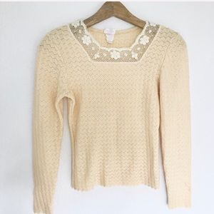 Yellow Knit Lace Trim Vintage Sweater